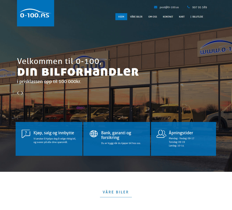 Webdesign for 0-100AS i Sarpsborg